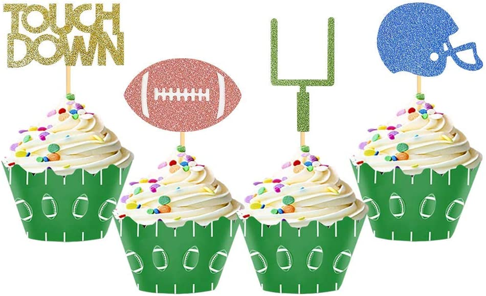 24 Pieces football Theme Glitter Cupcake Topper Cake Picks Decoration for Baby Shower Birthday Party Favors,Super Bowl Sunday or NFL Party Supplies with Touchdown, Football and Field Goal