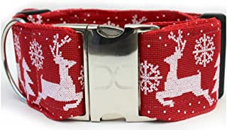 "product image for Diva-Dog 'Reindeer Crossing' 2"" Extra Wide Custom Engraved Dog Collar"