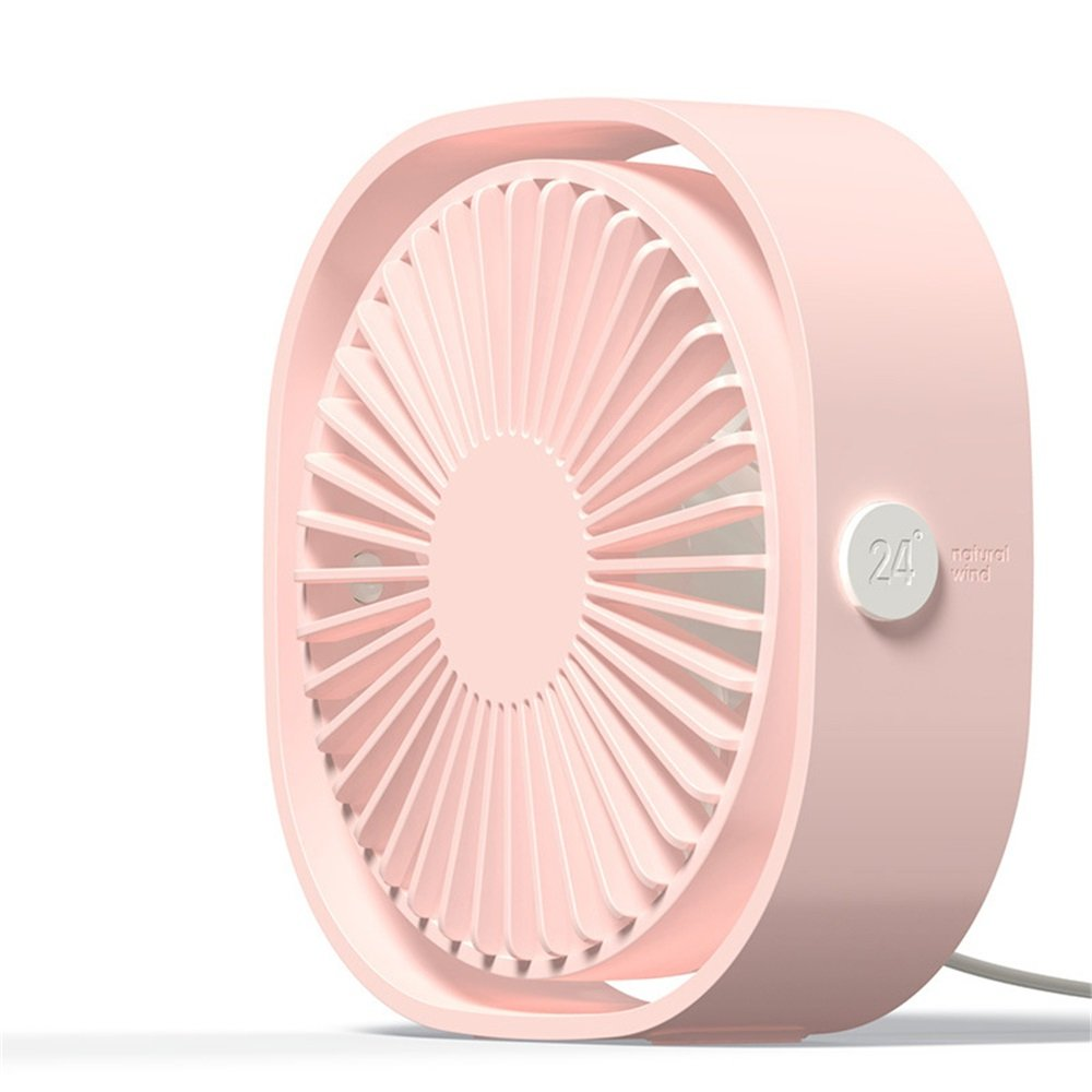 Xiuzhifuxie Mini Table Fan USB Quiet Desk Free Angle Rotation Personal Fan For Work Home School Travel (Color : Pink)