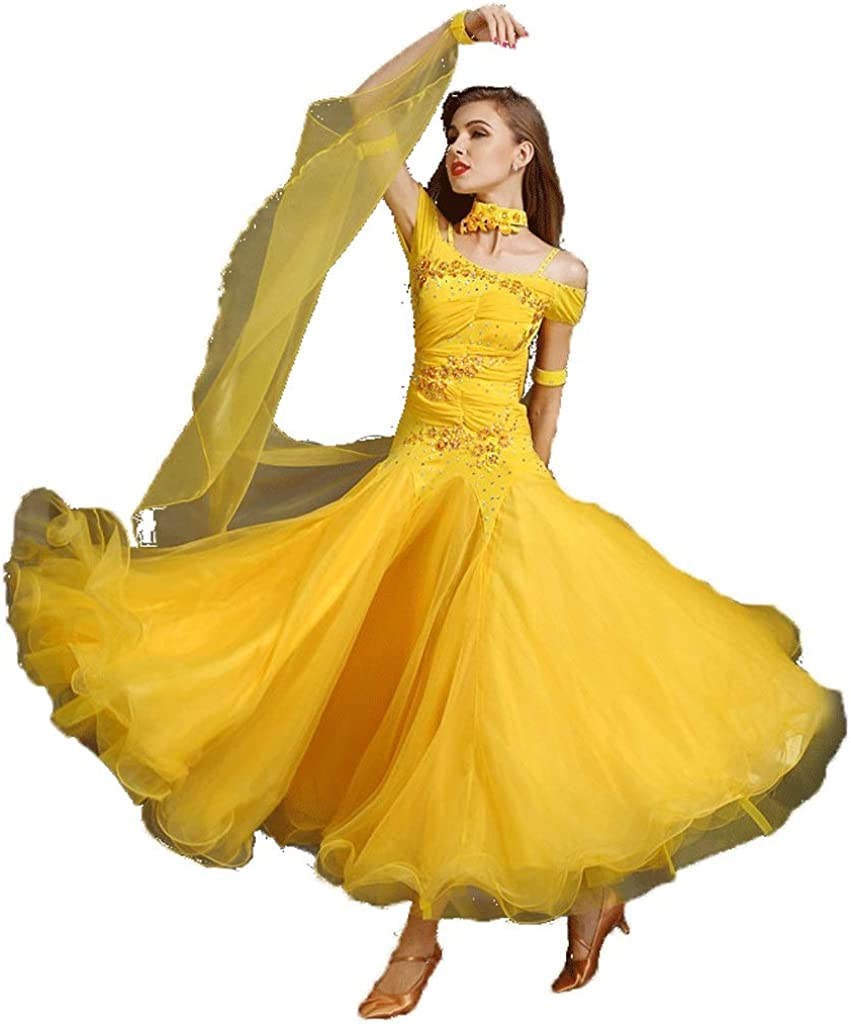Générique Jupe De Danse Slim Incrustée De Diamants, Jupe De Danse Moderne for Femmes Printemps Et en Été avec Col Fixé Yellow