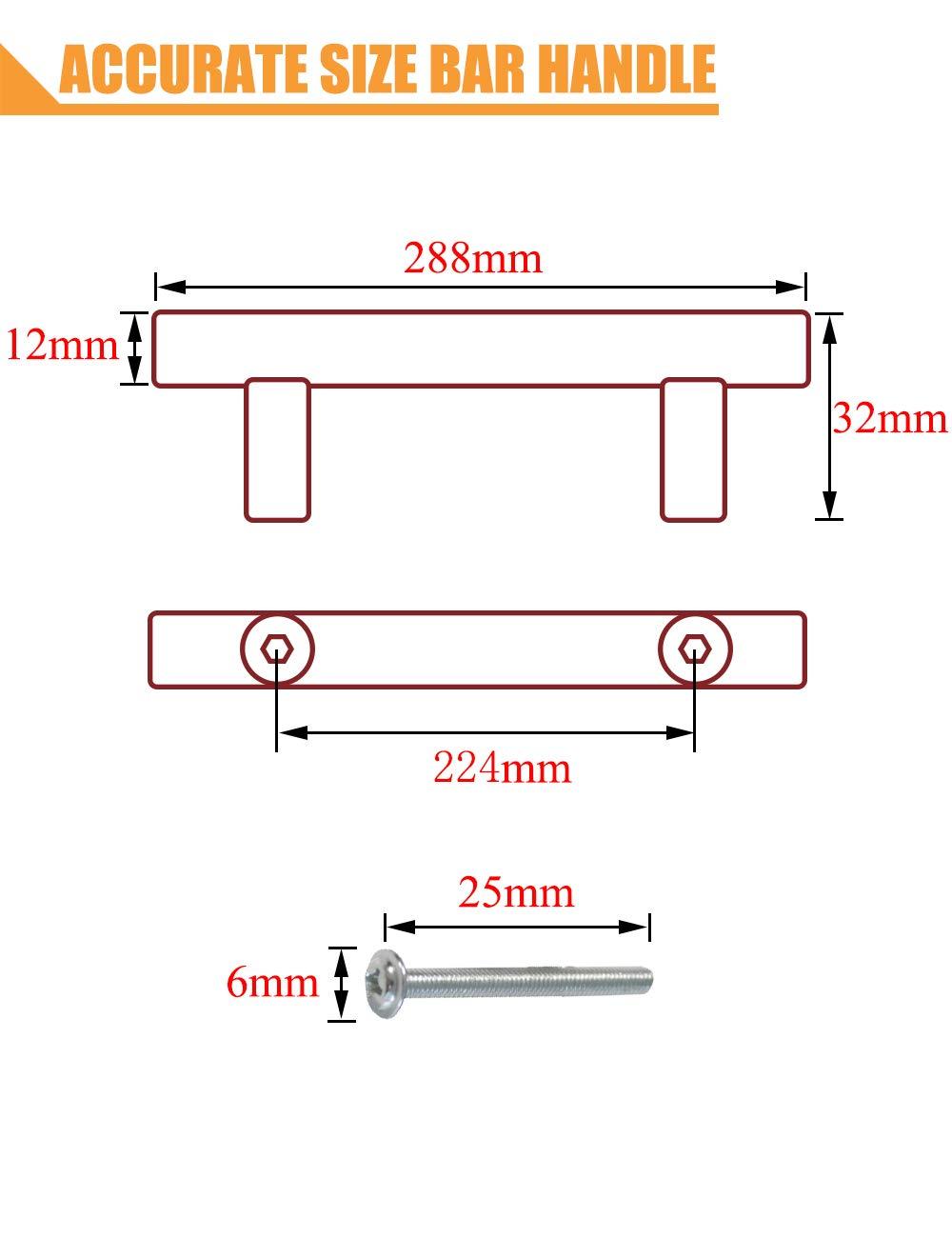 Tiradores de acero inoxidable para puertas de armarios de cocina agujero /único rojo serie T PinLin color rojo con tornillos de 6 x 25 mm