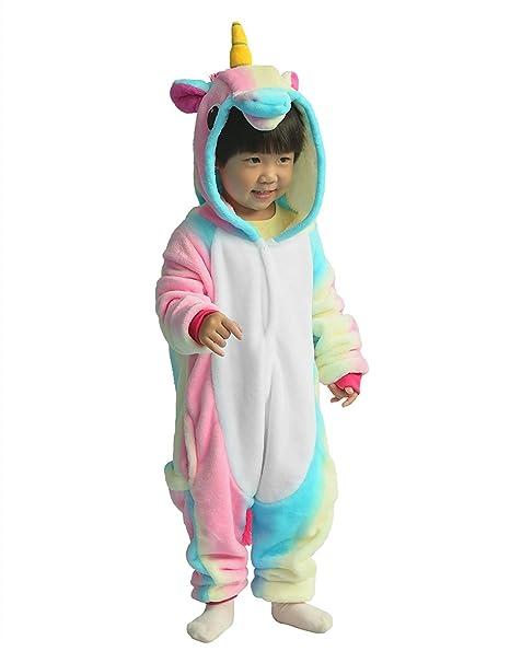 Bee Late 2018 Niños Animal Cosplay Disfraz Invierno Unicornio Pijama, Arco iris