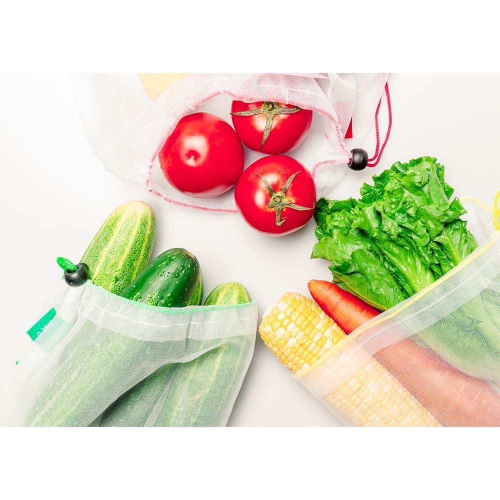 15 Reusable Produce bags Set,YIHONG Zero Waste Produce Bags See-Through Mesh Bags with Drawstring Toggle Closure, Colorful Tare Weight Tags,3 Sizes by YIHONG (Image #4)