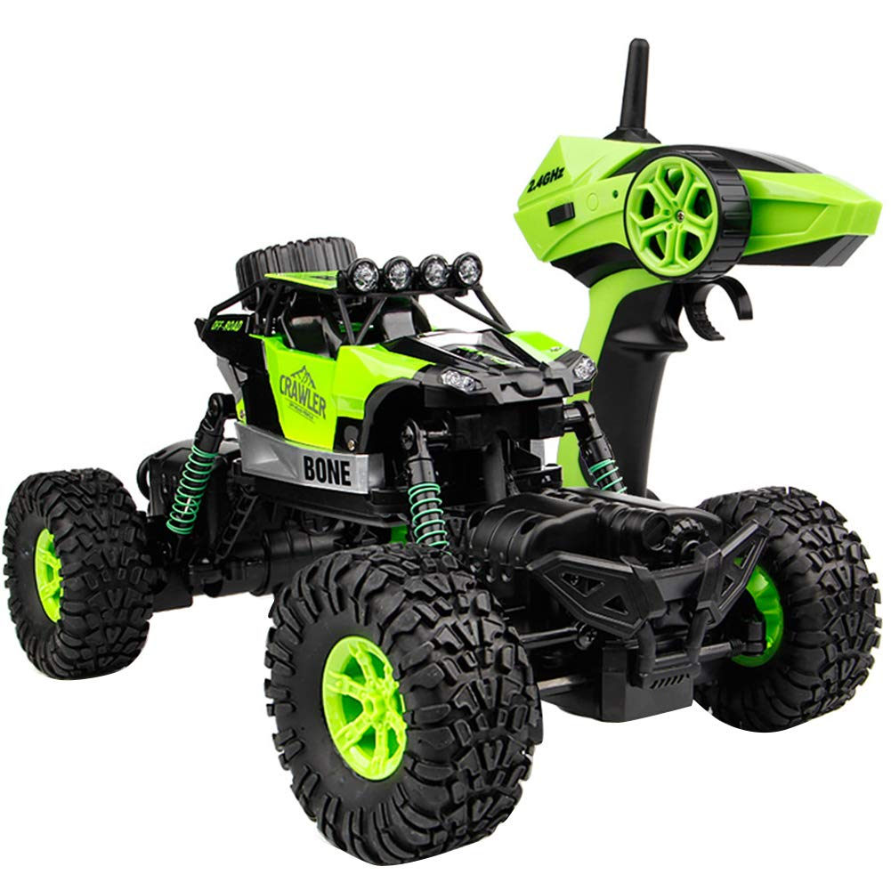 Braceus 2.4GHz 4WD RC Car Rock Crawler Waterproof Climber Off Road Vehicle Light Toy Green