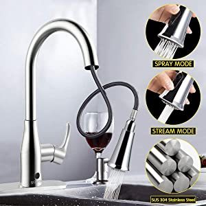 Kitchen Faucets,SOOSI Faucet Hands- Free Wave Sensor Single Lever Kitchen Sink Faucets Lead-free Solid Brass Kitchen Faucet with Pullout Sprayer Polished Chrome with Deck Plate,Resist Spot
