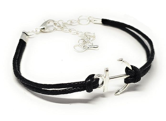 Anker-Armband (schwarz/silber)