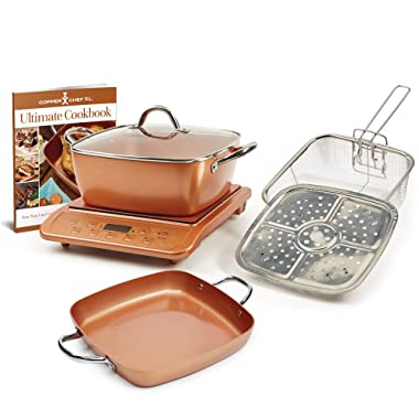 Copper Chef XL Plus Shallow Casserole Pan with Induction Cooktop (Copper)