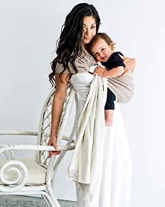 HUG A BUB: Baby Carrier Reversible Ring Sling 100% Organic Cotton - Sand/Stone