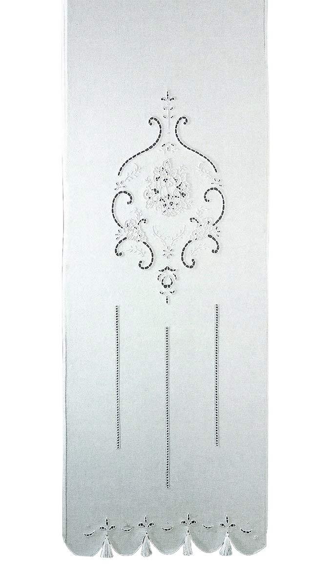 Zenoni & Colombi Coppia di Tende Ricamate a Mano Marie Claire Made in Italy Misto Lino Varie Dimensioni (40x80)