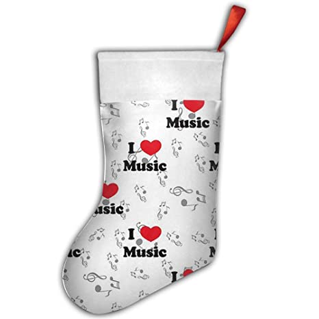 Letra I Love música Vintage Print Pleuche Craft de Navidad Papá Noel rojo Navidad calcetines regalo