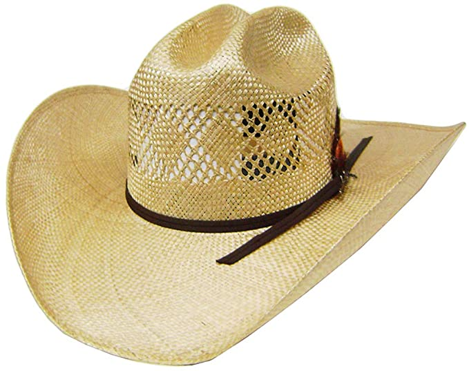 Modestone Fabric Hatband Feather Straw Cowboy Hat 54   for Small ... 00d2ad20984