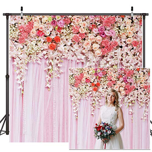 Dudaacvt 8X8ft Floral Wall Weddings Newborns Portraits Photography Backdrop Art Fabric Studio Pink Flowers Wall Photo Backdrop Q052