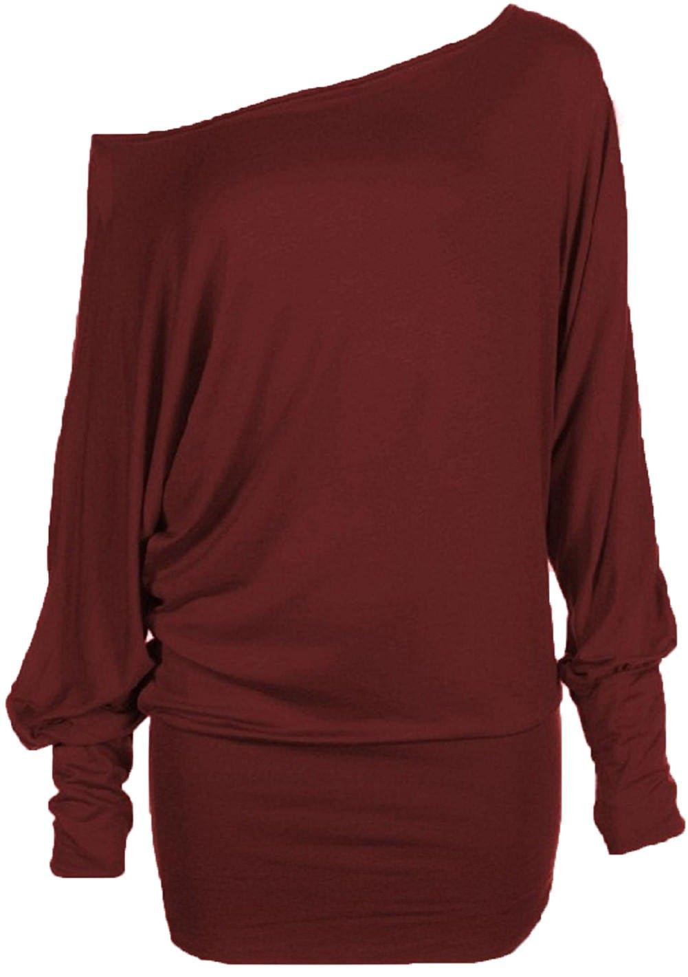 Hot Hanger Women's Long Sleeve Off Shoulder Plain Batwing Top FB-07