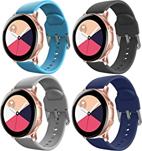 HQzon 20mm Band Replacement for Galaxy Watch Active / Galaxy Watch Active 2 40mm & 44mm / Galaxy Watch 3 41mm / Gear S2 Classic / Gear Sports,Soft Silicone Silver Watch Buckle Strap