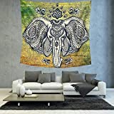 Elephant Tapestry Wall Hanging Large Wall Decor Mandala Bedroom White Black (200150cm/7959inches)