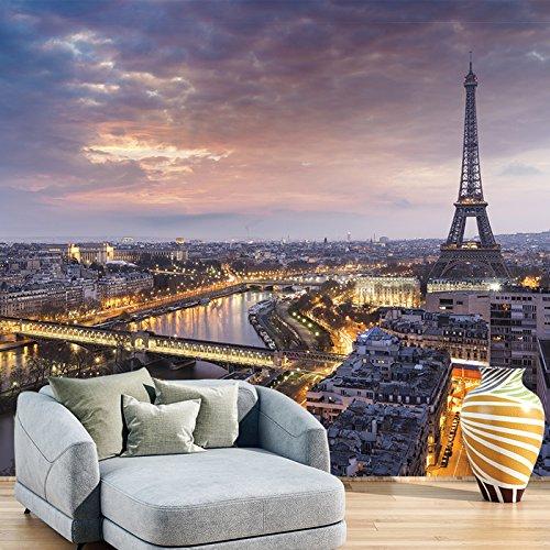 Eiffel Tower Sunset Wall Mural City Skyline Paris Photo Wallpaper France Decor available in 8 Sizes Medium Digital