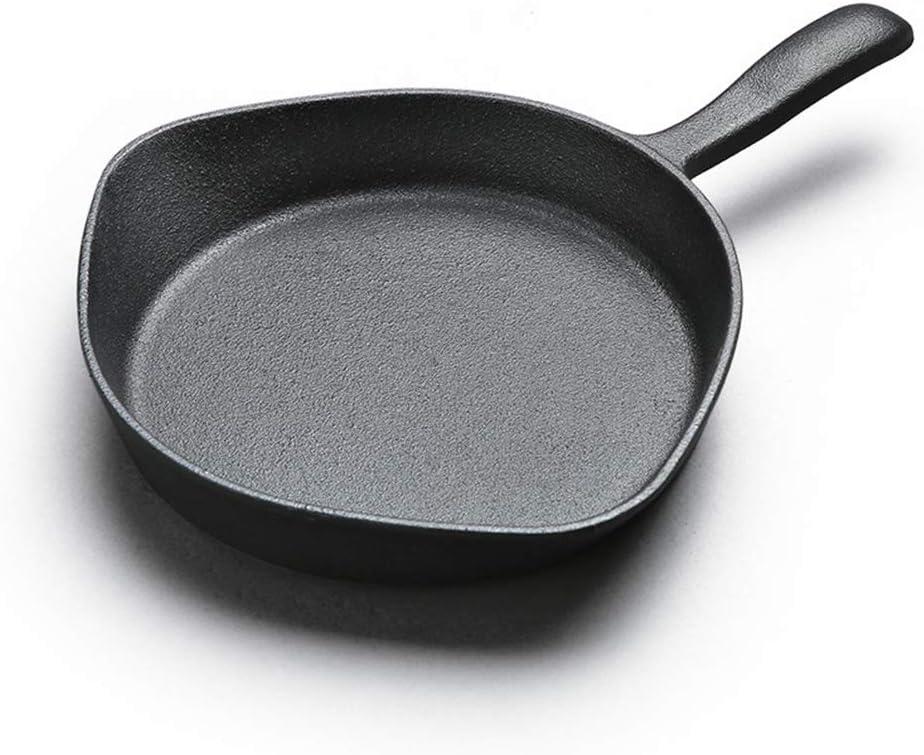 Poêle ronde en fonte Poêle à frire pour intérieur et extérieur batterie de cuisine non revêtue, Une pièce, pour induction et gaz,Noir Black