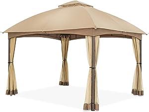 COOL Spot 10 x 12 ft Patio Dome Gazebo w/Mosquito Netting, Two-Tier Vented Top for Backyard Garden Lawn (Beige)
