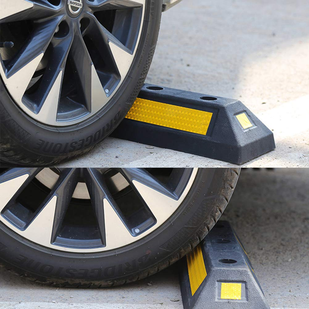 B BAIJIAWEI 2 Pack Heavy Duty Rubber Parking Guide Garage Wheel Stop with Yellow Reflective Stripes, Professional Grade Rubber Parking Target by B BAIJIAWEI (Image #5)