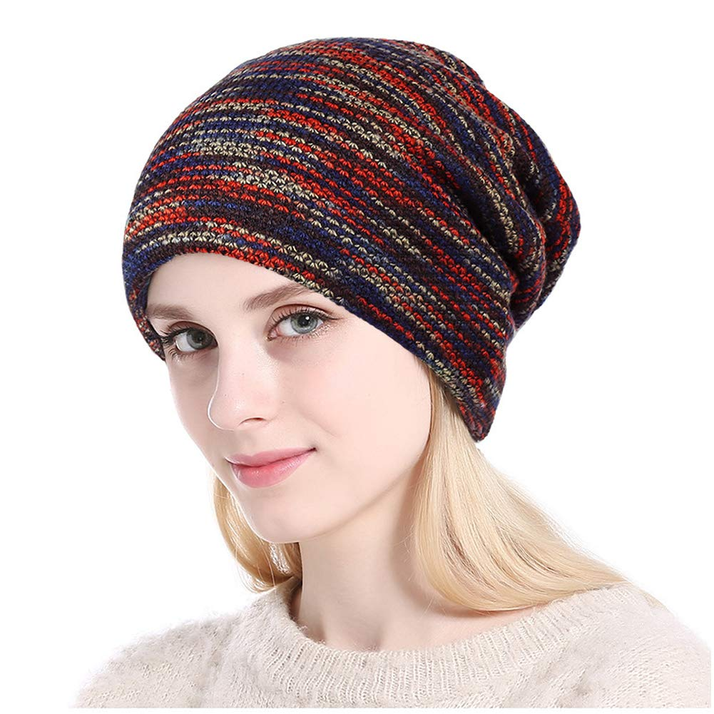 Knit Beanie Hat for Men Women - Unisex Soft Stretch Cable Slouchy Beanie Wool Knitting Skull Cap, Warm & Stylish