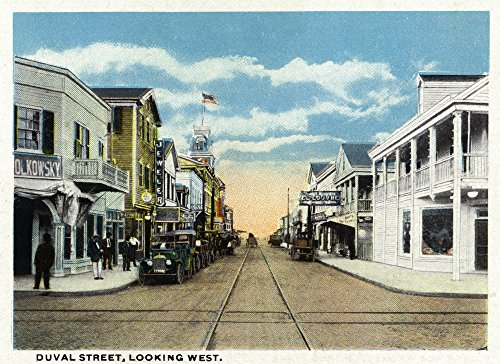 Key West, Florida - Duval Street West Scene (9x12 Collectible Art Print, Wall Decor Travel - Duval West Key In Street Florida