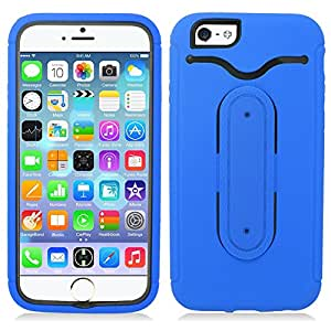 Aimo Wireless For Apple iPhone 6 (4.7-inch) Armor 3 in 1 Metal Spring Stand, w/Credit Card Slot, Blue