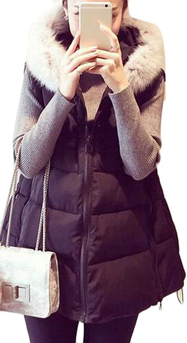 ONTBYB Womens Winter Warm Faux Fur Hooded Outdoor Puffer Down Jacket Vest