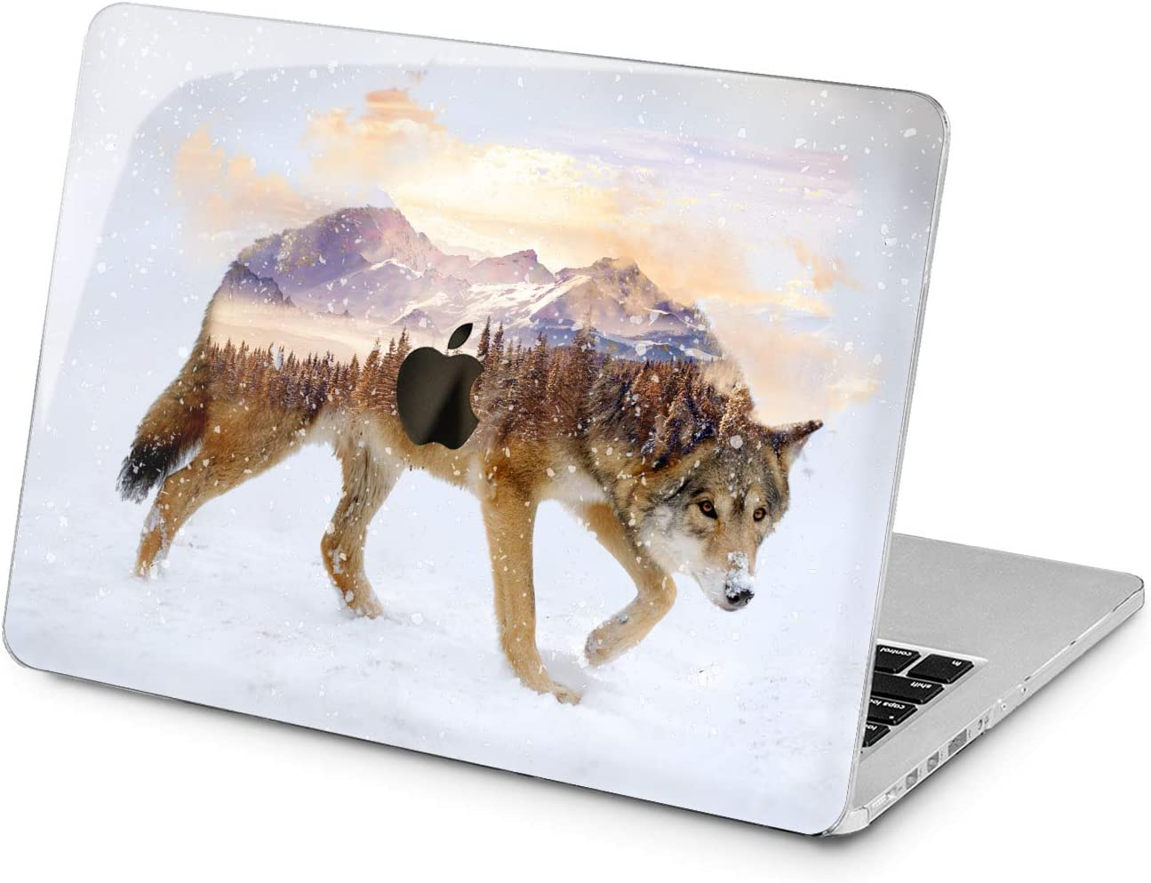 "Cavka Hard Shell Case for Apple MacBook Pro 13"" 2019 15"" 2018 Air 13"" 2020 Retina 2015 Mac 11"" Mac 12"" Protective Plastic Wolf View Glam Print Cover Animal Snow Laptop Design Forest Winter Mountain"
