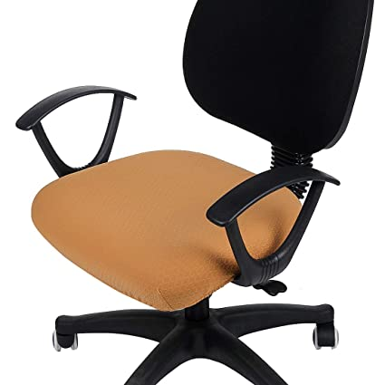 Smiry Stretch Jacquard Office Computer Chair Seat Covers Removable Washable Anti Dust Desk Chair Seat Cushion Protectors Camel