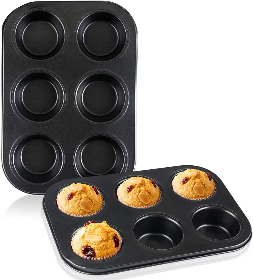 Muffin Pan 2pcs, Beasea 6 Cavity Non Stick Muffin Baking Pan Set of 2, Carbon Steel Muffin Pan Set Cupcake Baking Pan