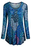 Tencole Women Tops for Leggings, Long Sleeve Shirts Ethnic Style Tops Printed Blouse,blue-green,Medium