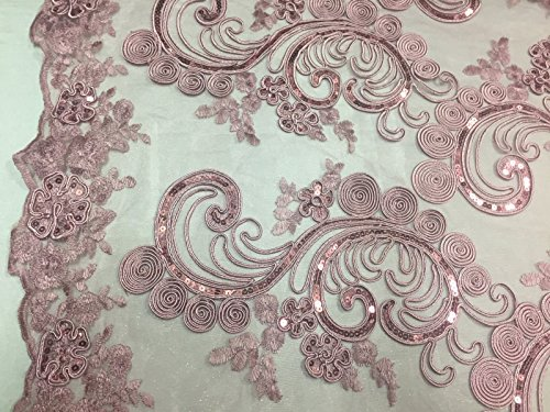 Dusty Rose Flower Swirls Corded And Embroider With Sequins On A Mesh Lace -yard
