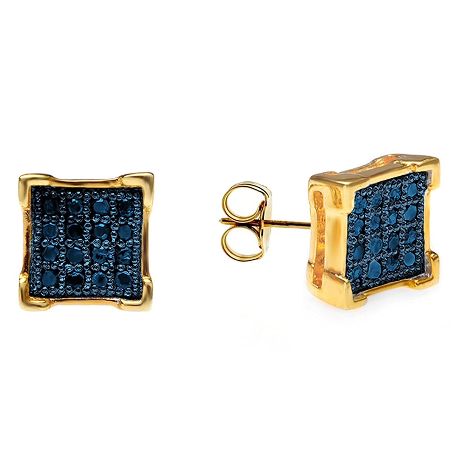 0.10 Carat (ctw) 18K Yellow Gold Plated Sterling Silver Blue Diamond V-Prong Mens Iced Stud Earrings