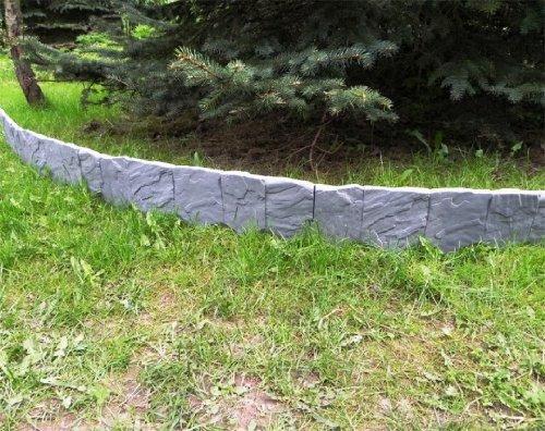 ZAUN RASENKANTE BEETEINFASSUNG STEIN 2,28 m x 13 cm grau
