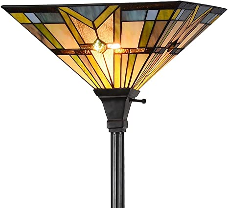 Tiffany Style 69 H Stained Glass Mission Torchiere Floor Lamp 1