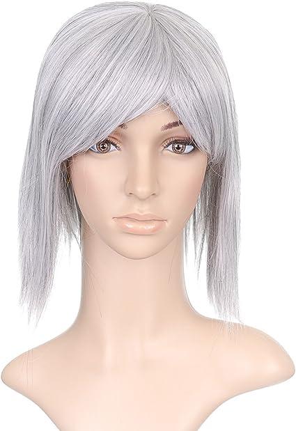 Silver Grey Medium Length Anime Cosplay Costume Wig