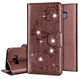 PHEZEN Galaxy Note 8,Luxury Bling Rhinestone Soft Slim Flip Stand Wallet Case for Embossed Butterflies Floral Magnetic Bumper PU Leather Card with Mirror Cover for Samsung Note 8,Brown
