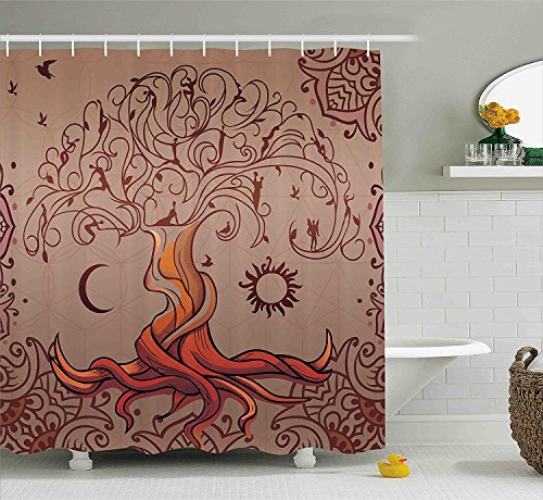 Indian Shower Curtain Vintage Tree of Life with Sun and Moon Elf on Branches Enchanted Universe Image Fabric Bathroom Decor Set with Hooks Orange (Ebay Elf Costume)
