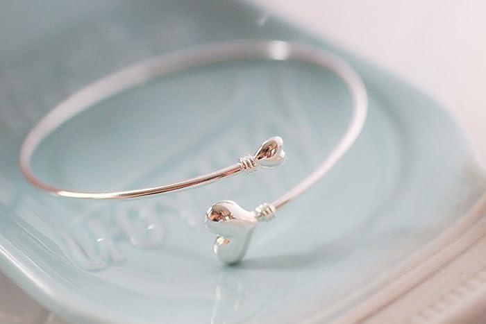 7fdc4c47150a3 Amazon.com: Sterling Silver Bangle - Charm Bracelet - Twist Open ...