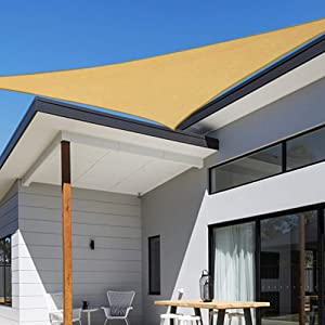 Shade&Beyond 12'x12'x17' Sun Shade Sail Triangle Sail Shade Canopy for Patio Lawn Garden