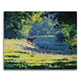 Lostart 5D Diamond Painting for Adult, Paint by Number Kits, Crystal Rhinestone Diamond Embroidery Paintings Pictures Arts Craft for Home Wall Decor, Full Drill (water the horse)
