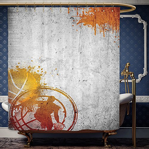 Wanranhome Custom-made shower curtain Sports Decor Set Basketball Streetball And Paint Stains Image On Concrete Wall Rustic Charcoal Orange For Bathroom Decoration 40 x 72 - Galleria Main Street