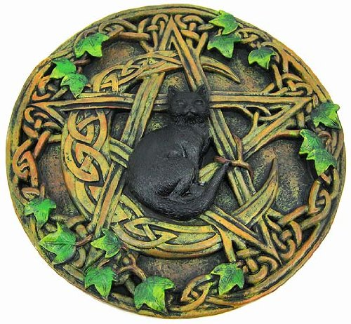 Black Cat Crescent Moon Pentacle Wall Hanging Plaque - Pentacle Wall