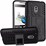 Chevron Military Grade Armor Kick Stand Back Cover Case for Moto G Play 4th gen, Black