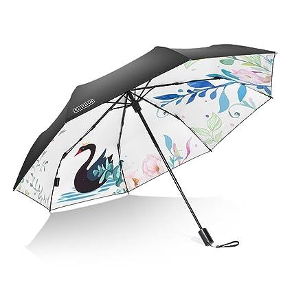 HTZ Umbrella Girl Protección UV literaria Vinilo Sombrilla Protector Solar Femenino Sombrilla Ultra Ligera Paraguas soleados