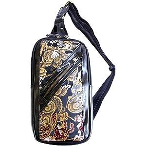 【RP46】【和柄ショルダーバッグ】和柄 ボディバッグ和柄金襴ショルダーバッグ 金龍柄 和柄シザーバッグ 和柄ヒップバッグ