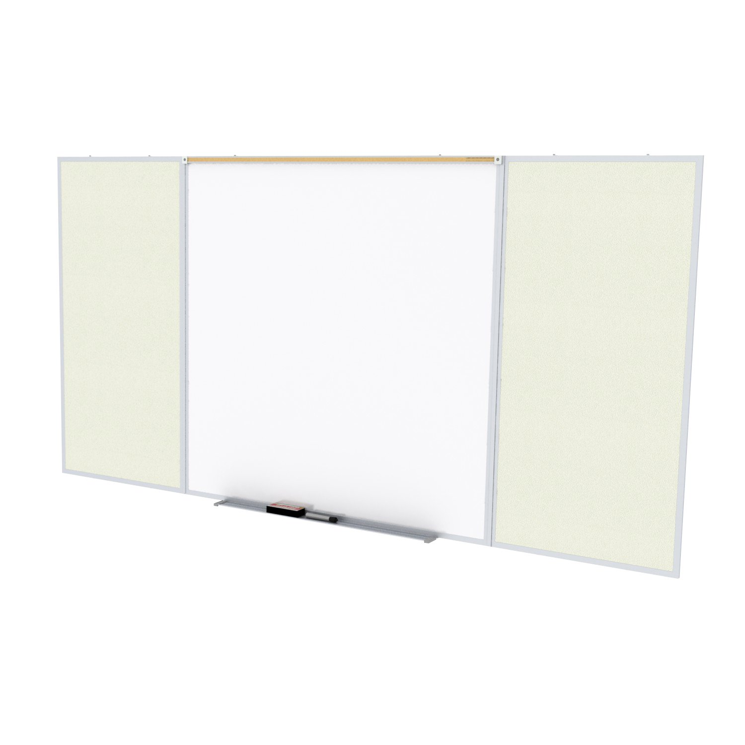 Ghent Style D 4 x 16 Feet Combination Board, Porcelain Magnetic Whiteboard and Vinyl Fabric Bulletin Board, Ivory , Made in the USA by Ghent