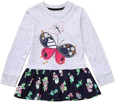 ASHOP Vestidos niña/ Vestido Estampado Floral de Manga Larga con ...