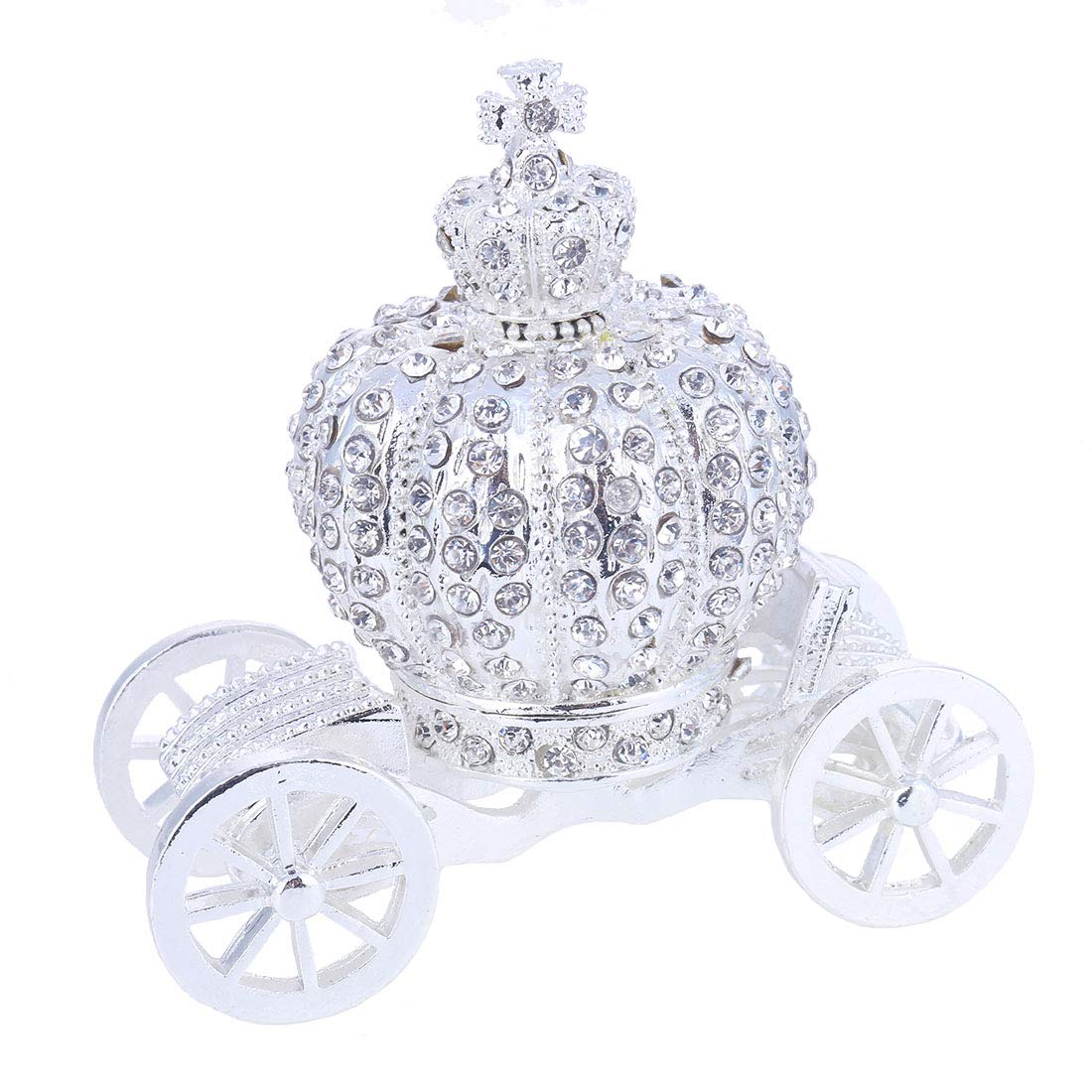 YUFENG Hand Painted Trinket Box Jewelry Holder with Elegant Crystals Collectible Figurine & Decorative Living Room Jewelry Holder (Crown Carriage