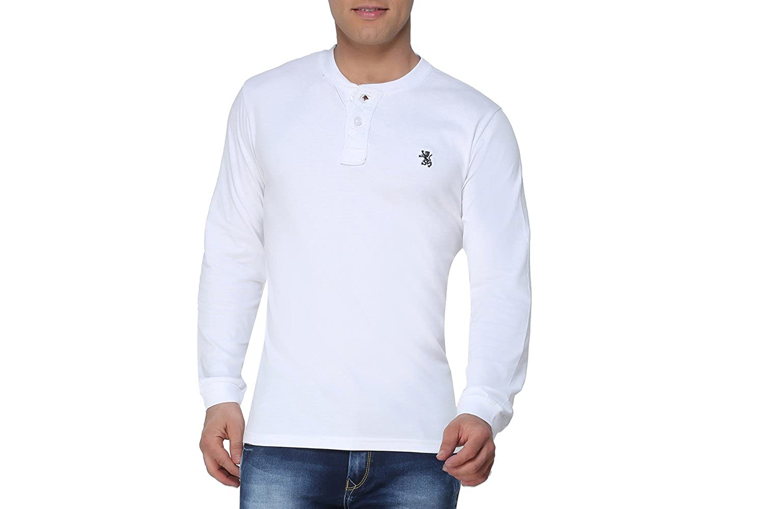 7c348acd0966 The Cotton Company Men s Cotton Henley Full Sleeve T Shirt - White - M   Amazon.in  Clothing   Accessories